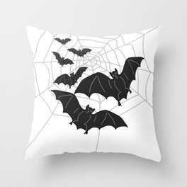Black Bats with Spider Web Halloween Throw Pillow