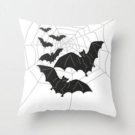 Black Bats with Spider Web Halloween Throw Pillow