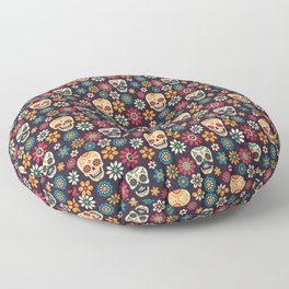Day Of The Dead Pattern | Dia De Los Muertos Skull Floor Pillow