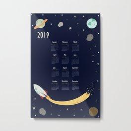2019 Outer Space Calendar Metal Print