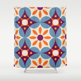 Cement tiles, gemoetric textures, patterns, southern Italy style Shower Curtain