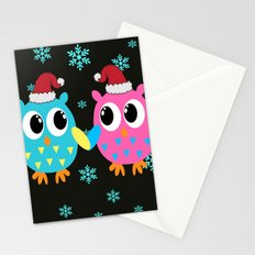 Xmas Owls in the Snow Stationery Cards