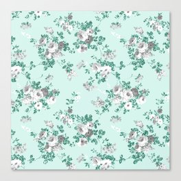 Country chic teal white gray green glitter floral Canvas Print
