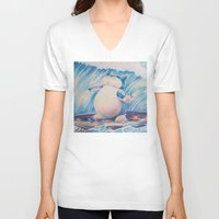 snorlax V-neck T-shirts featuring Snorlax Used Surf by LaurelAnneEquineArt
