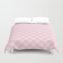 Large Soft Pastel Pink Checkerboard Chess Squares Duvet Cover