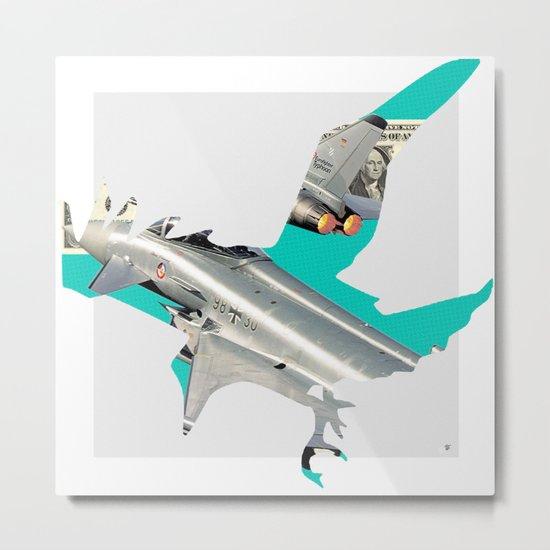 Green Bird Bomber Metal Print