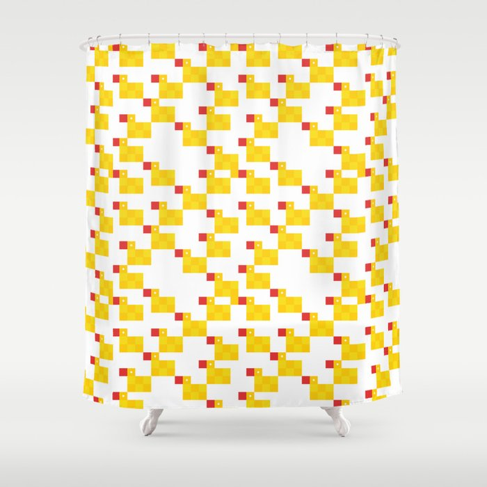 Pixel By Rubber Duck Shower Curtain