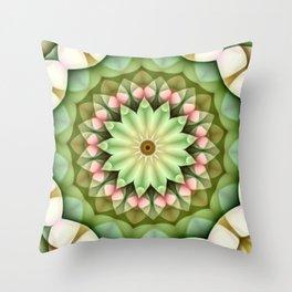 Daisy Pink Green Kaleidoscope Throw Pillow