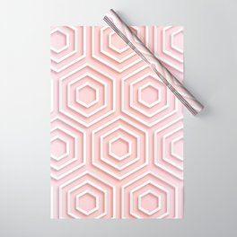 3D Hexagon Gradient Minimal Minimalist Geometric Pastel Soft Graphic Rose Gold Pink Wrapping Paper