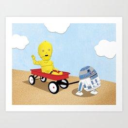 SW Kids - C3PO & R2D2 Red Wagon Art Print