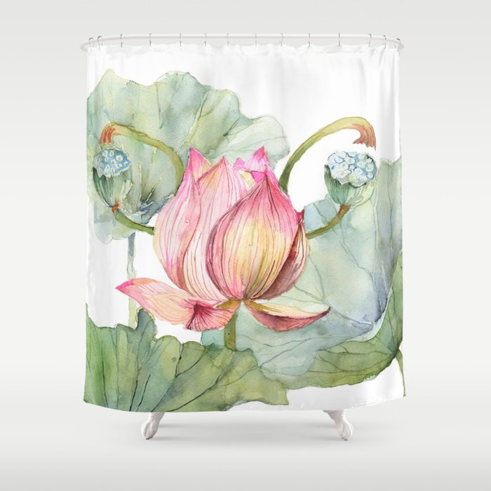 Lotus Metaphor for Feminine Beggining Shower Curtain
