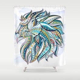 Zentangle head of the lion on the grunge background Shower Curtain