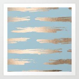 Abstract Paint Stripes Gold Tropical Ocean Sea Blue Art Print