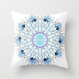 ice flake winter mandala Throw Pillow