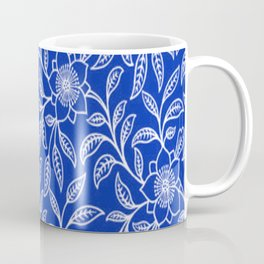 Vintage Lace Floral Sapphire Blue Coffee Mug