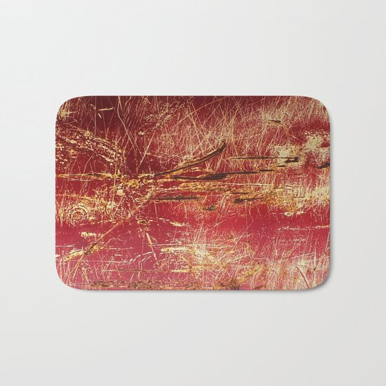 Rusted Gold and Red Abstract Landscape Bath Mat