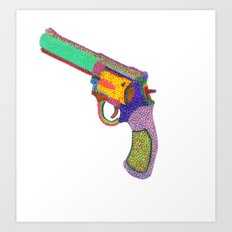 gun shoots color Art Print