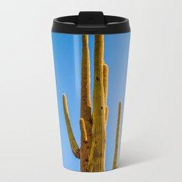 Minimalist Green Cactus Blue Sky Mexican Desert Landscape Travel Mug