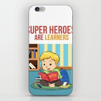 super heroes iPhone & iPod Skins featuring Super Heroes Are Learners by youngmindz