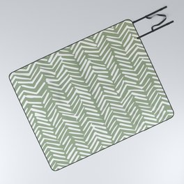 Boho Herringbone Pattern, Sage Green and White Picnic Blanket