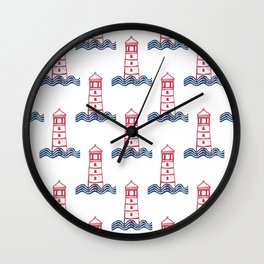 Red and Blue Graphic Lighthouse & Waves Linocut  Wall Clock