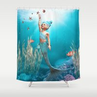 little mermaid Shower Curtains featuring Little Mermaid by Simone Gatterwe