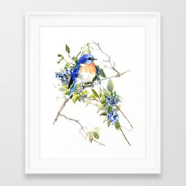 Bluebird and Blueberry Framed Art Print