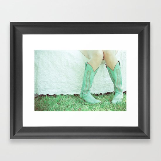 Green Boots Framed Art Print