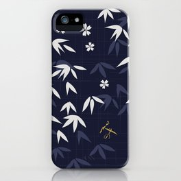 White bamboo leaves Japanese pattern iPhone Case