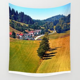 A village, some trees, and more boring scenery Wall Tapestry