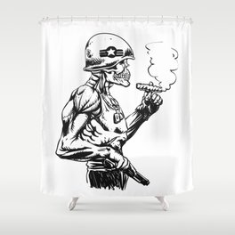 Military zombie - Skull military - zombie illustration Shower Curtain