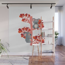 Cartoon couple of koala bears, lovely Valentines day illustration Wall Mural