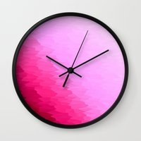 hot pink Wall Clocks featuring Pink Ombre by Simply Chic