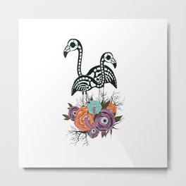 Flamingo Skeleton With Halloween Flowers Metal Print
