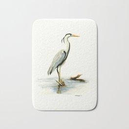 Blue Heron - watercolor bird, home decor, nursery wall art Bath Mat