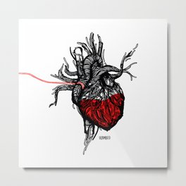 Wired Heart Metal Print