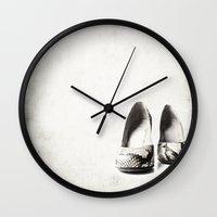shoes Wall Clocks featuring shoes by Ingrid Beddoes