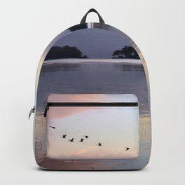 Uplifting II: Geese Rise at Dawn on Lake George Backpack