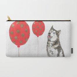 Husky With Balloon Carry-All Pouch