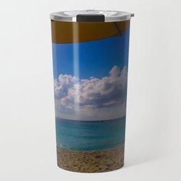 Seaside Under Umbrellas Travel Mug
