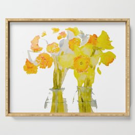 Daffodils watercolor Serving Tray