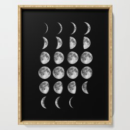 Phases of the Moon print black-white photo new lunar eclipse poster bedroom home wall decor Serving Tray