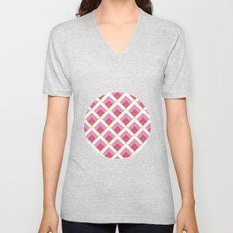 Pink and Gold Diamond Art Deco Pattern Unisex V-Neck