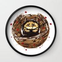 wild things Wall Clocks featuring Wild things by Torekdg