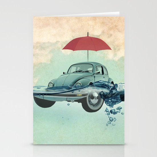 VW Chance of rain in deep water Stationery Cards