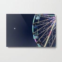 Ferris Wheel & Moon Metal Print
