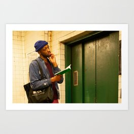 Man with a Book Waiting Elevator, A Art Print