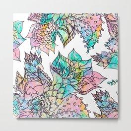 floral hand drawn watercolor pattern Metal Print