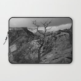 Withered Tree on top of Mountain Range, Big Bend - Landscape Photography Laptop Sleeve