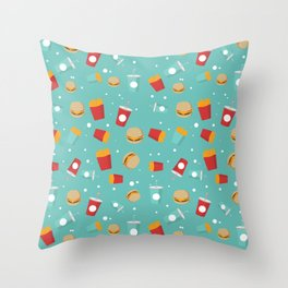 Burgers pattern Throw Pillow